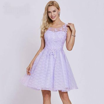 Short cocktail dress lilac scoop sleeveless knee length lace a line gown party  appliques cocktail dresses