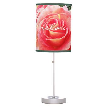 """Relax"" quote pink rose close-up photo table lamp"