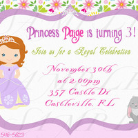 Princess Sofia the First inspired printable invitation. Princess sofia the First inspired birthday party. Digital File