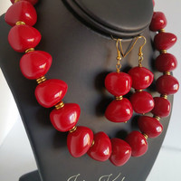 Scarlet Acrylic Beaded Gold Tone Necklace Earring Jewelry Set
