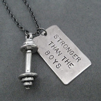 STRONGER Than The BOYS Barbell Necklace - Workout Necklace on 18 inch Gunmetal chain or Stainless Steel Ball chain - Girl Power