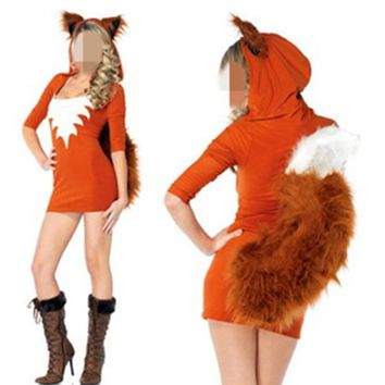 Cute Orange Tail Fox Halloween Animal Women Costumes Slim Bodycon Dresses Carnival Party Faux Fur Costume