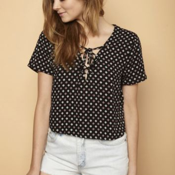 Clover Lace Up Top