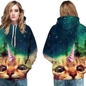 Adorkable Unicorn Cat Hip Hops Sweatshirts Women Loose Skateboard Hoodies Long Sleeves Jumper Pullover Green Starry Night Jacket