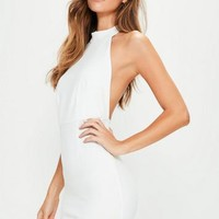 Missguided - White Halterneck Backless Bodycon Dress