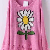 Pink Sunflower Print Long Sleeve Ripped Knitted Sweater