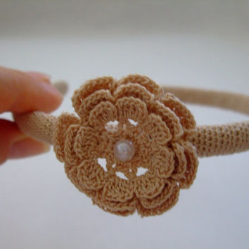 Wedding Vintage Headpiece,Crochet HairBand,Beige Crocheted Headband,Crochet Flower, Womens, Girl, Gift For Her,High Quality,Rustic Weddings