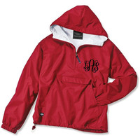 Red Monogrammed Personalized Half Zip Rain Jacket Pullover Lifeguard Jacket by Charles River Apparel