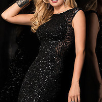 Short Sequin High Neck Dress by Scala