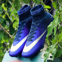 Hot Sale High Ankle Soccer Shoes Original Cheap Superfly FG Deep Royal Blue Metallic Silver Racer football Boots Outdoor Cleats