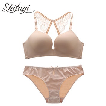 Shitagi Wirefree One-piece Seamless Bra Panty Set White Bra Set Lingeire Set Beige Racerback Sexy Push up Bra Underwear women