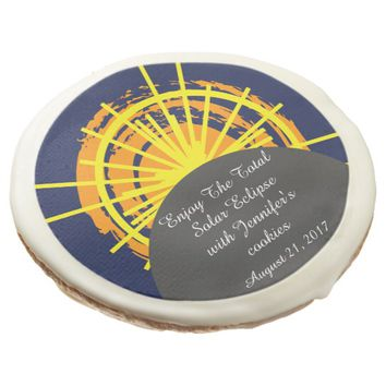 Total solar eclipse funny customizable sugar cookie