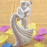 Bride And Groom Resin White Wedding Cake Topper