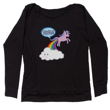Toot Unicorn Farting Slouchy Off Shoulder Oversized Sweatshirt