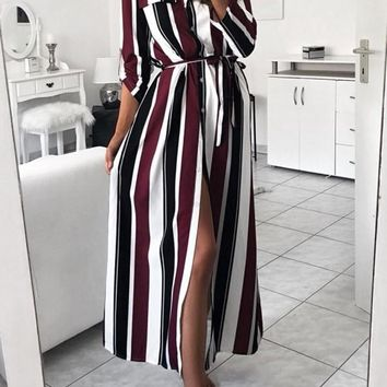 New Red Striped Single Breasted Sashes Side Slit Turndown Collar Long Sleeve Casual Maxi Dress