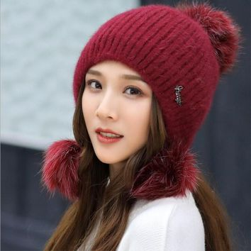oZyc Rabbit fur knitted Hat female and winter knitted hat casual all-match sweet knitted hat Earmuffs warm wool cap