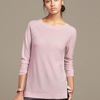Banana Republic Extra Fine Merino Wool Long Pullover Size L - Pale pink