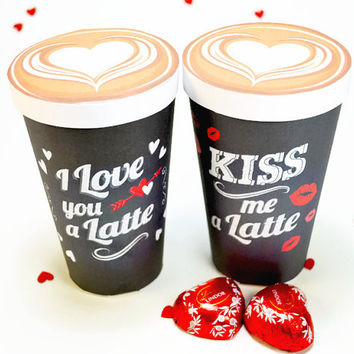 DIY Printable Chalkboard Valentines Treat Cups, Large Latte Cup Gift box, Set of 2 Treat boxes, PDF gift box templates