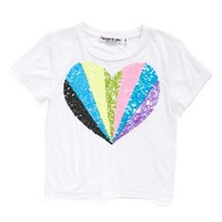 Girl's Flowers by Zoe Sequin Heart Tee ,