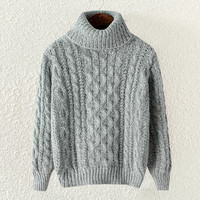 Grey High Neck Knit Sweatshirt