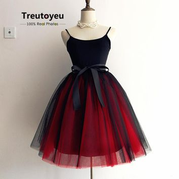 7 Layers 65cm Long Women Skirt Princess Tutu Tulle Skirts Fashion Ball Gown Lolita Skirt Summer Saias Femininas faldas Jupe