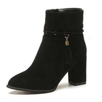 Ankle Boots Thick Heel Pointed Toe