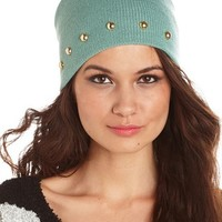 STUDDED RIBBED KNIT BEANIE