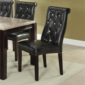Black Faux Leather Tufted Dining Chair, Set Of 2,Black And Brown