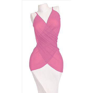 Multi-Function Dahlia Pink Fuscia Pareo Mesh Sarong Dress Cover-Up Thaikila by Blue Glue