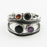 Black Onyx, Amethyst & Garnet Sterling Silver Swirl Patina Band Ring