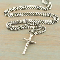 On Sale Modern Cross Necklace Antique Silver Stainless Steel 18 Inch Endless Chain Teen Christian Gift Graduation Gift Confirmation Gift