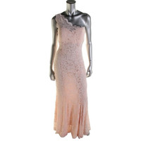 Morgan & Co. Womens Juniors Lace Glitter Evening Dress