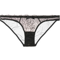 L'Agent by Agent Provocateur - Grace stretch-tulle and lace briefs