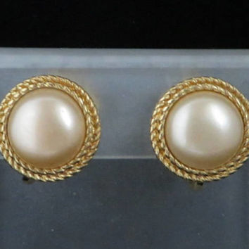 Crown Trifari Faux Pearl Earrings Vintage Braided Gold Tone Button Clip-ons Estate Costume Jewelry Designer Signed Clips