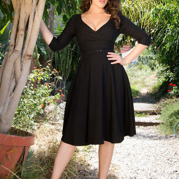 Pinup Couture Erin Swing Dress in Three-Quarter Sleeves in Black
