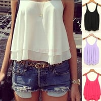 New Women Casual Shirts Sleeveless Strap Sexy Chiffon Blouses Crop Top Tank Tops SV003446 = 1745306244