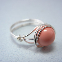 Swarovski Pink Coral Ring - Silver Wire Ring - Custom Size Ring