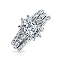 Bling Jewelry Round Pave CZ Engagement Wedding Ring Guard Set Sterling Silver