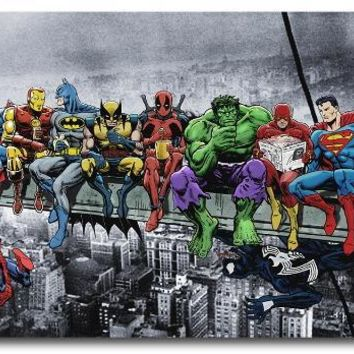 Custom Canvas Wall Painting Funny Superheroes Poster Deadpool Hulk Batman Stickers Anime Wallpaper Superman Flash Murals #0002#