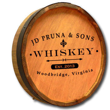 Personalized Whiskey Label Quarter Barrel Sign