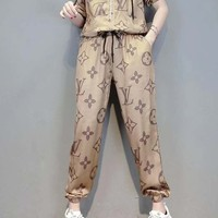 """LOUIS VUITTON"" Woman Casual Wild Fashion Letter Personality Pattern Print Hooded Zipper Short Sleeve Trousers Two-Piece Casual Wear"