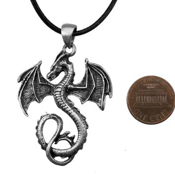 "Exoticdream Dragon Steampunk Celtic Eragon Pewter Pendant +18"" Leather Necklace"