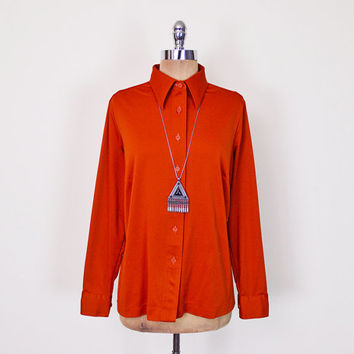 Vintage 70s Pumpkin Orange 70s Disco Shirt Blouse Top Disco Collar Polyester Shirt Button Up Shirt 70s Shirt 70s Hippie Shirt Women L Large