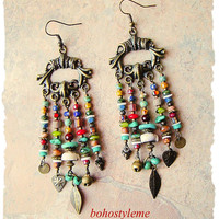 Boho Junk Gypsy Assemblage Earrings, Colorful Boho Jewelry, Rustic Tribal Chandelier Earrings, bohostyleme, Kaye Kraus