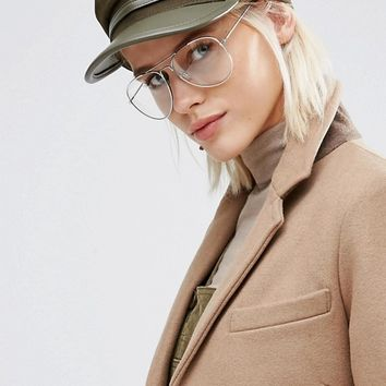 Jeepers Peepers Clear Lens Aviator at asos.com
