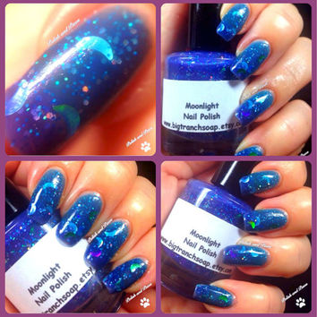 """Color Changing Thermal Nail Polish - """"Moonlight"""" - Blue to Purple - Temperature Changing - Polish/Lacquer - 0.5 oz Full Sized Bottle"""