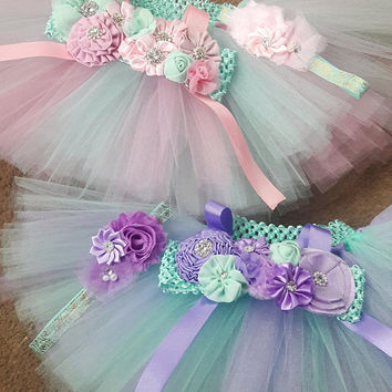 First Birthday Outfit, Twin Birthday Outfit, Baby Girl Tutu Outift, Pink and Mint Birthday Set, Lavender and Mint Bday Outfit, Twin Shirts