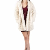 Kendall Shaggy Faux Fur Jacket in Cream