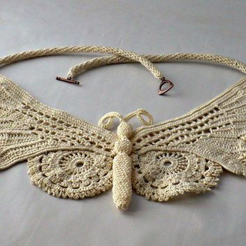 Fine Thread Irish Crochet Lace Butterfly by Nothingbutstring
