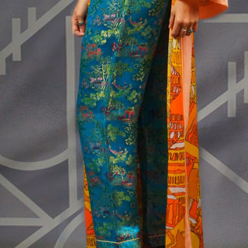 Vintage cheongsam silk pants / vivid blue satin brocade with wonderful oriental pagodas and country scenes
